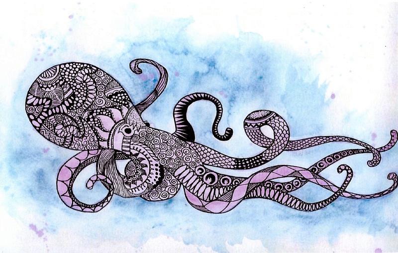 Открытка с осьминогом